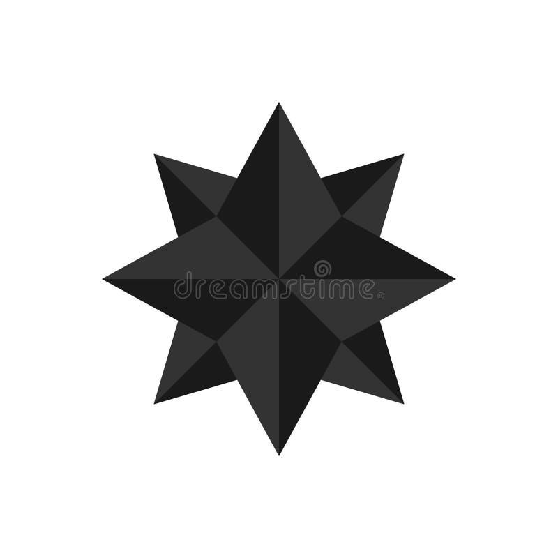 Color plano del negro del icono de la estrella doble del ejemplo del vector libre illustration