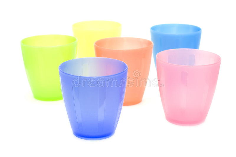 Color plastic cups close up royalty free stock image