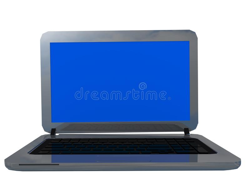 Color plata aislado vacío de la pantalla azul del ordenador portátil - representación 3d fotos de archivo