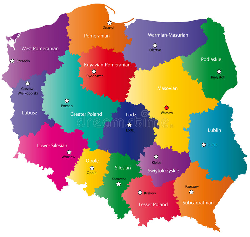 Color Poland map. Poland map designed in illustration with the 16 provinces colored in bright colors and with the main cities. Neighbouring countries are in an vector illustration