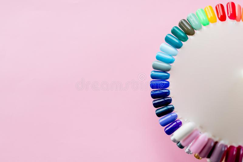 The color of Polish for manicure. Design for nails. testers nail Polish. Fashion manicure. Shiny gel lacquer. Feminine stock photo