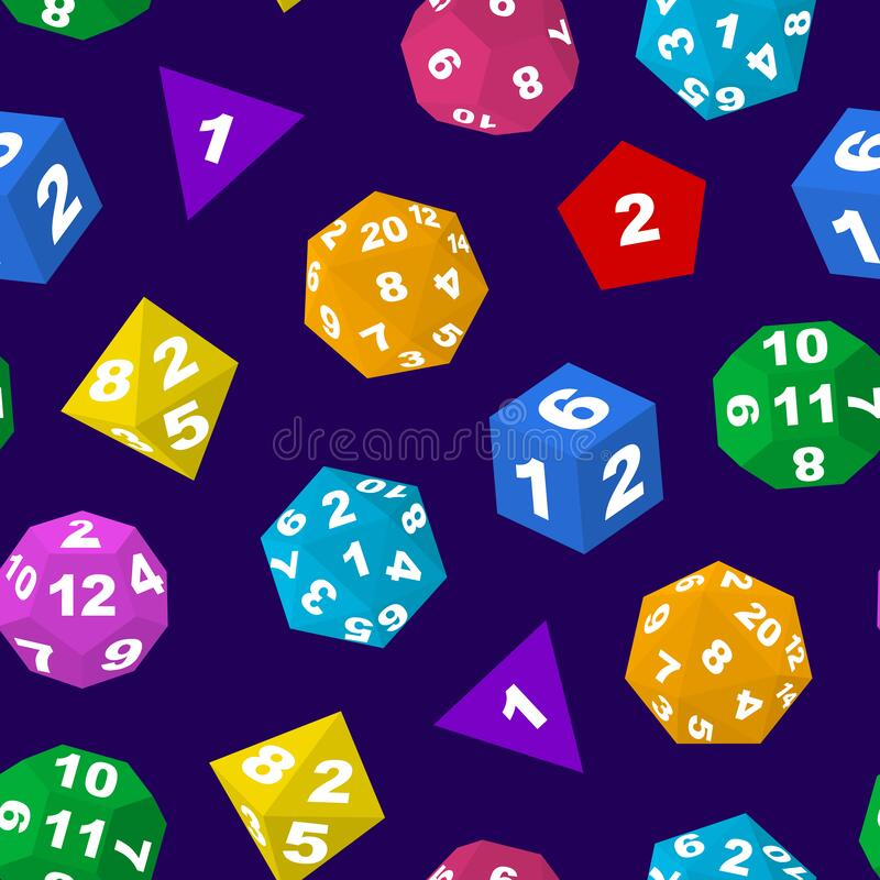 Free Color Polyhedron Dice With Numbers Seamless Pattern Background. Vector Royalty Free Stock Photo - 181771275