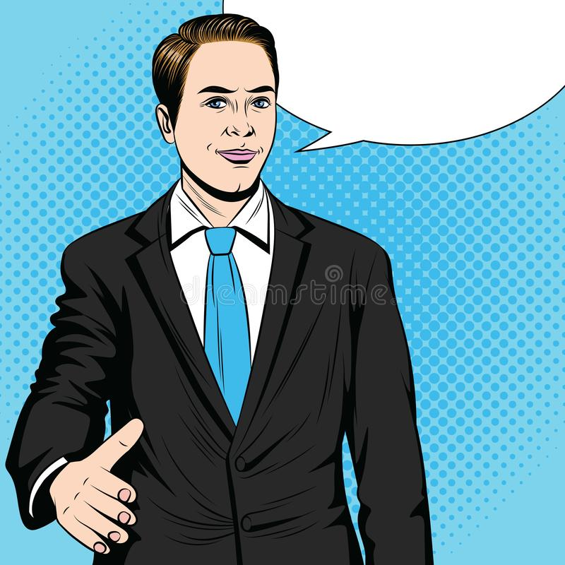 Color  pop art style illustration of a man stretching his hand for a handshake. royalty free illustration