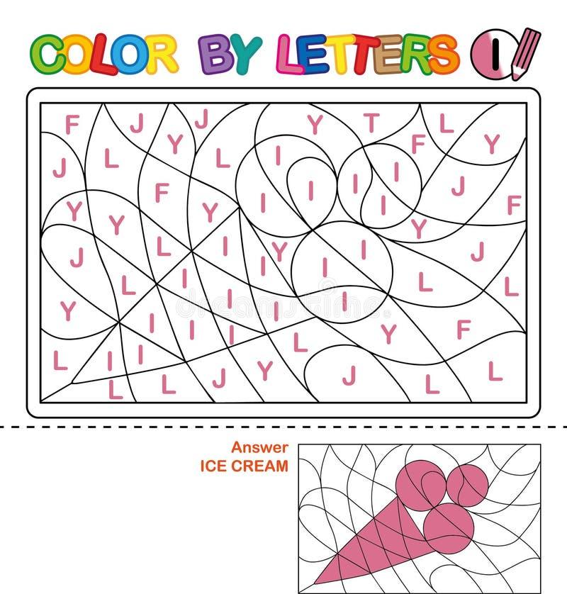 Color Por Carta Rompecabezas Para Los Niños Conos De Helado De La ...