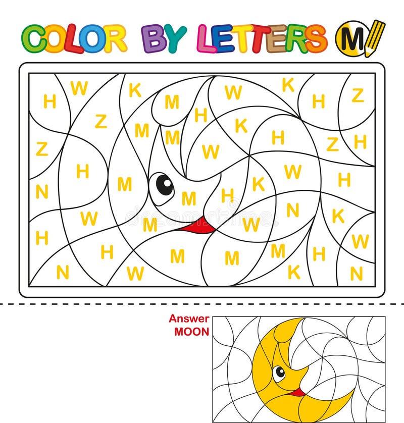 Color por carta Rompecabezas para los niños Luna stock de ilustración