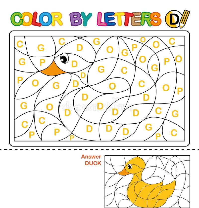 Color Por Carta Rompecabezas Para Los Niños Pato Ilustración del ...