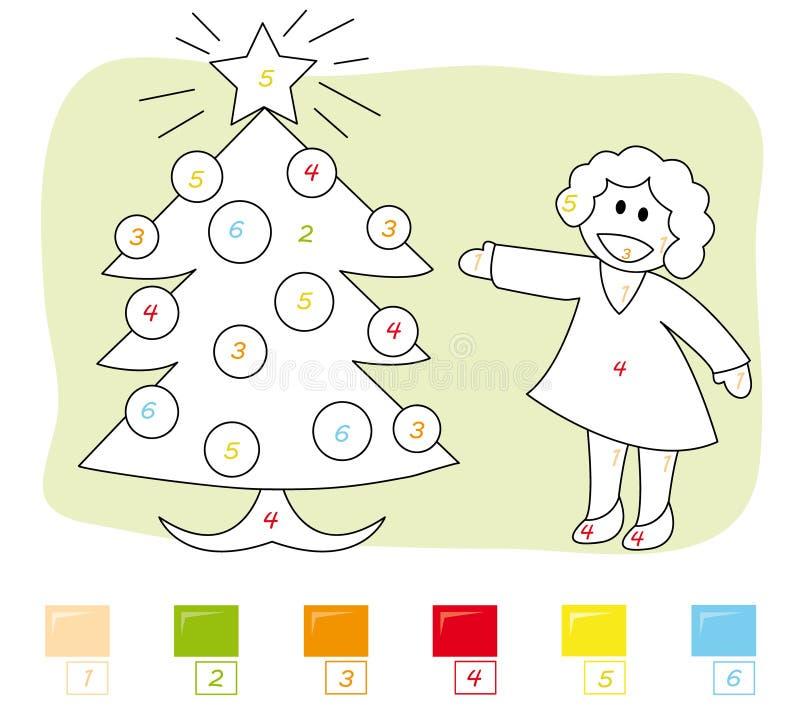 Color por el juego de número: árbol de navidad ilustración del vector