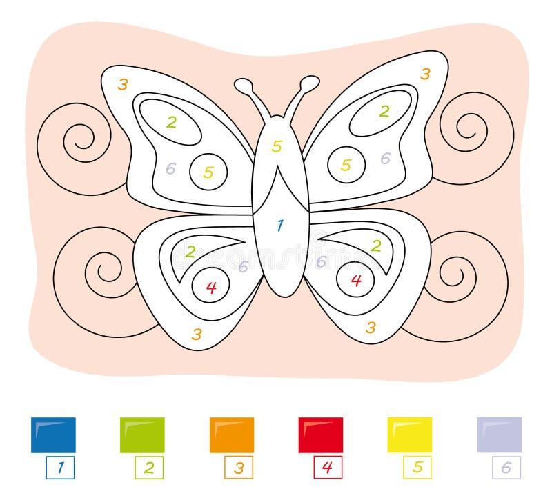 Color por el juego de número: mariposa stock de ilustración