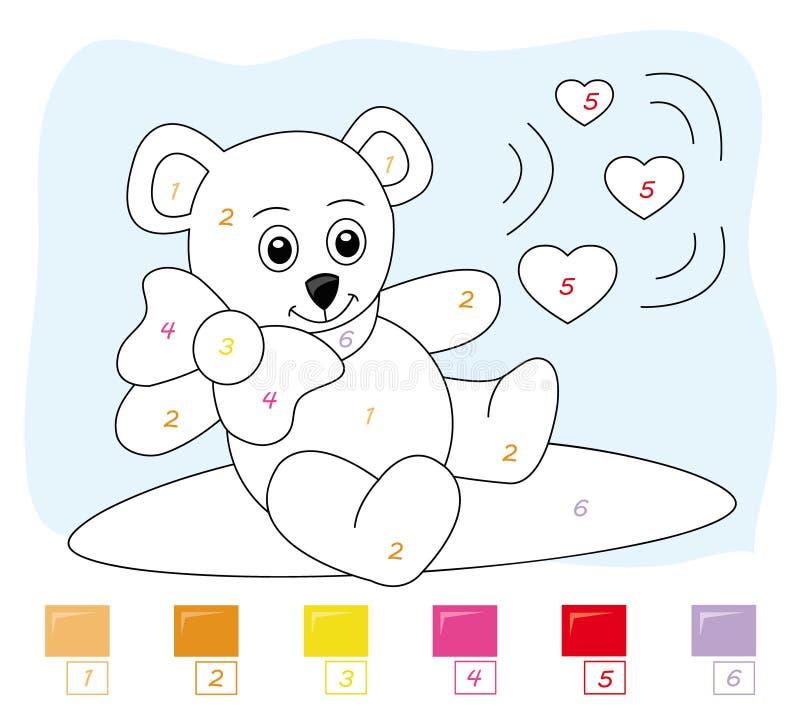 Color por el juego de número: oso de peluche ilustración del vector