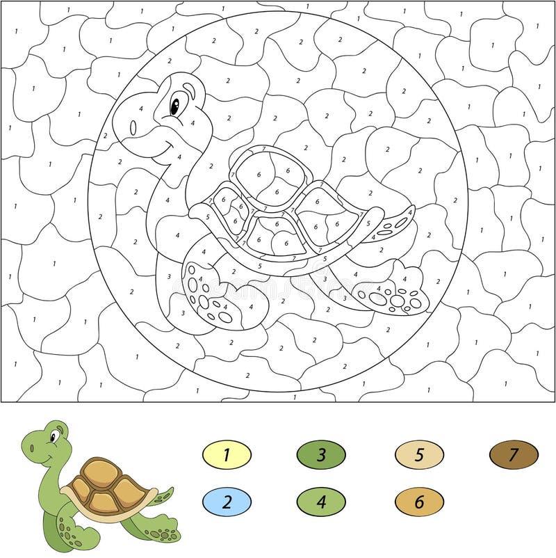 Color Por El Juego Educativo Del Número Para Los Niños Tortuga ...