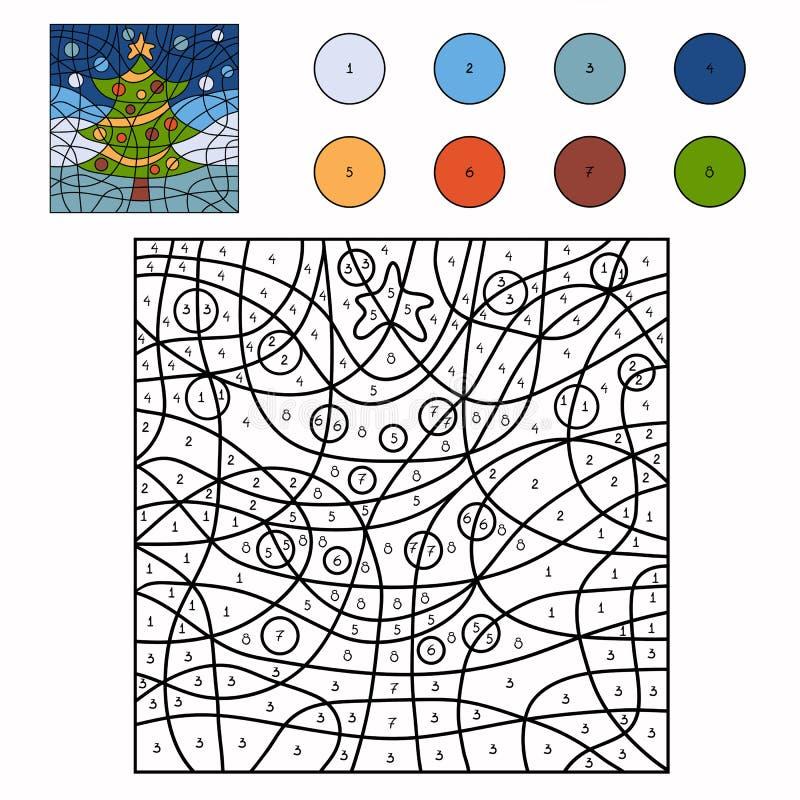 Color por el número (árbol de navidad) stock de ilustración