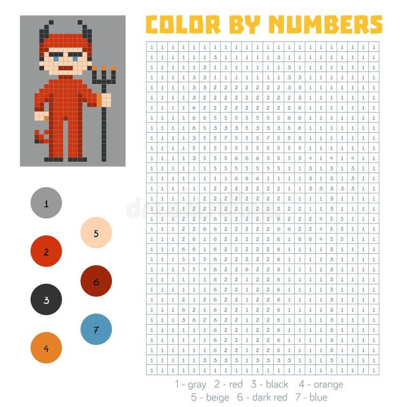 Color por el número, diablo ilustración del vector