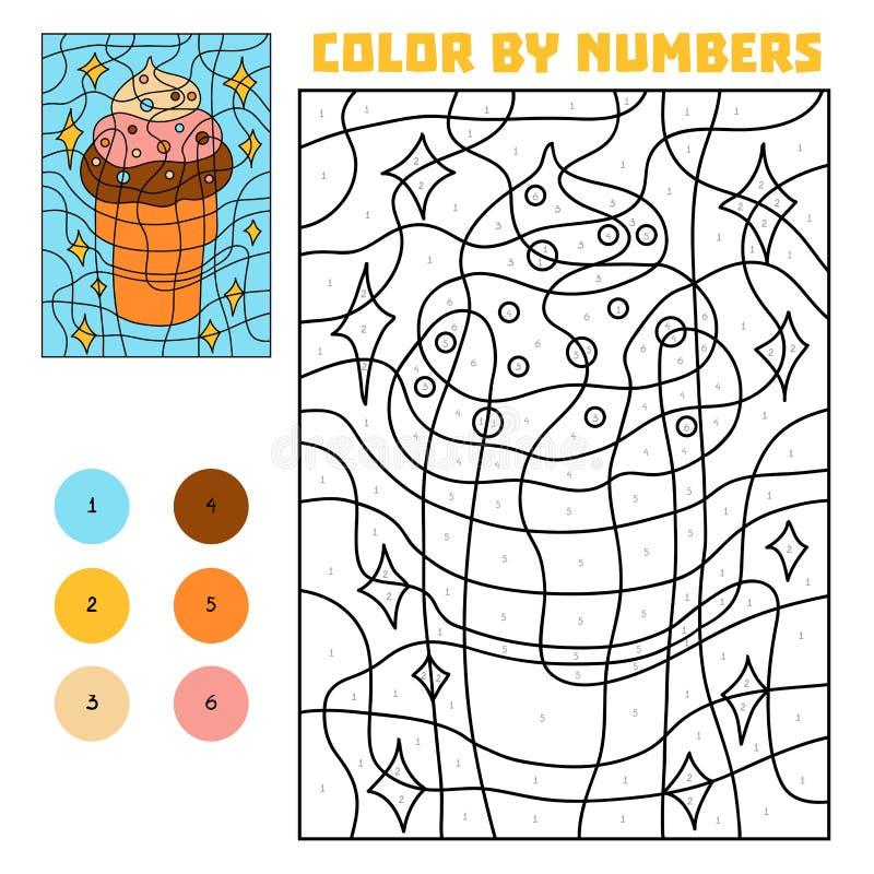 Color por el número, helado ilustración del vector