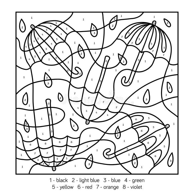 Color por el número, juego de la educación sobre los paraguas ilustración del vector