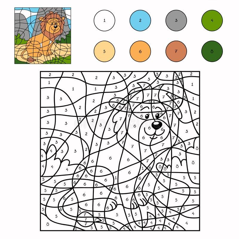 Color por el número (león) stock de ilustración