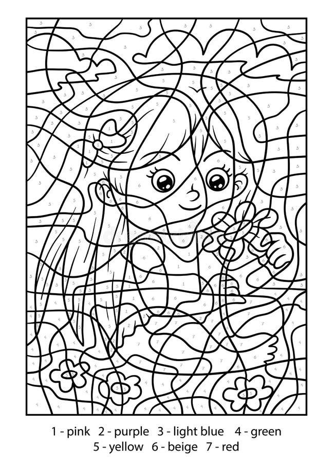 Color por el número, muchacha con una flor libre illustration
