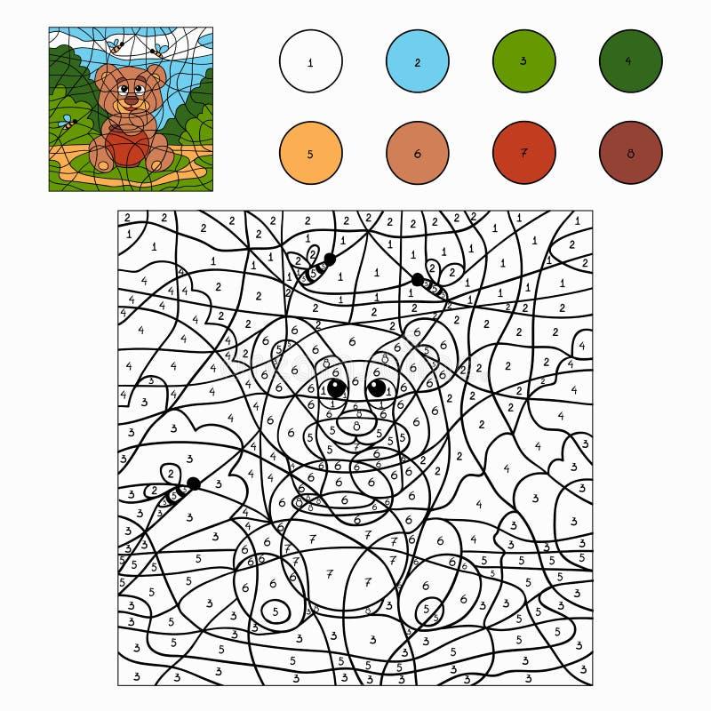 Color por el número (oso) stock de ilustración