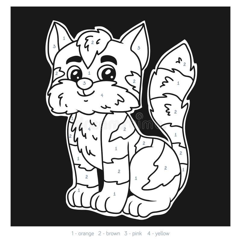 Color por el número para los niños, gato libre illustration