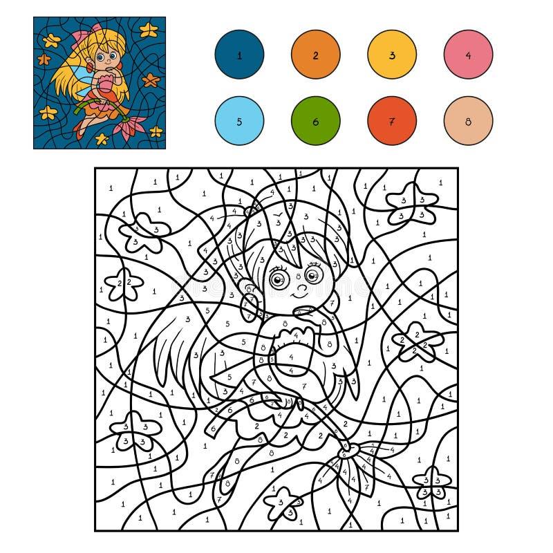Color por el número para los niños (pequeña hada) ilustración del vector