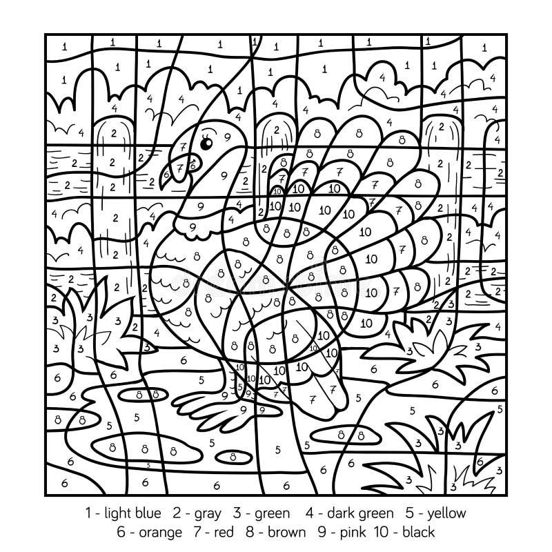 Color por el número, pavo libre illustration