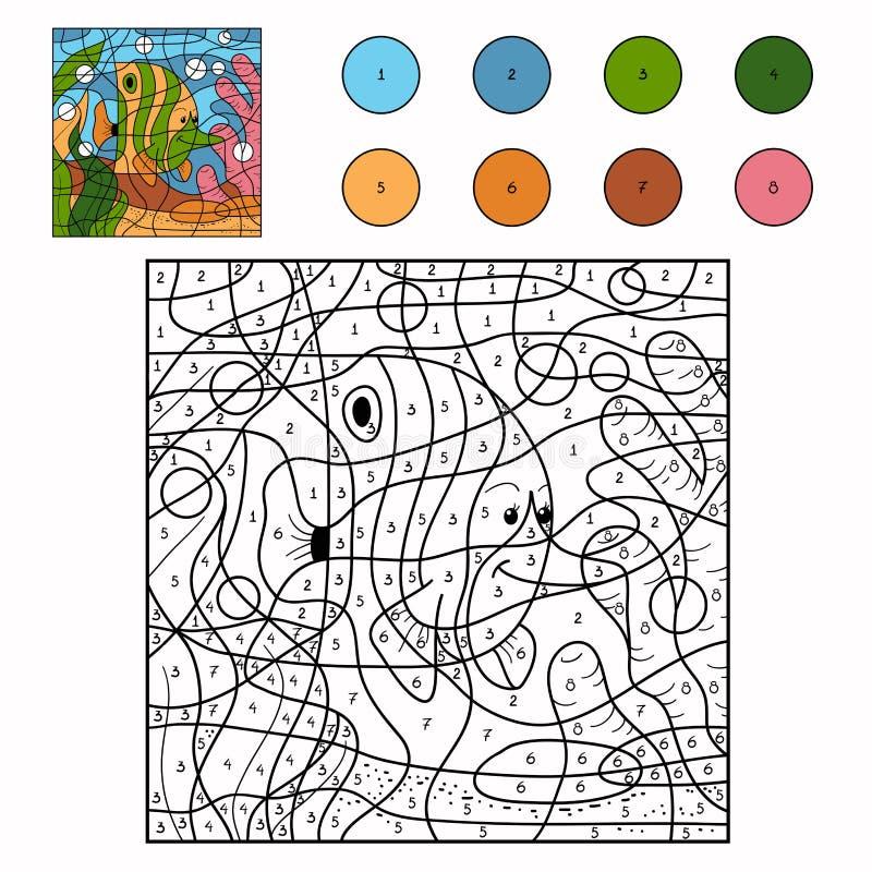 Color por el número (pescados) ilustración del vector