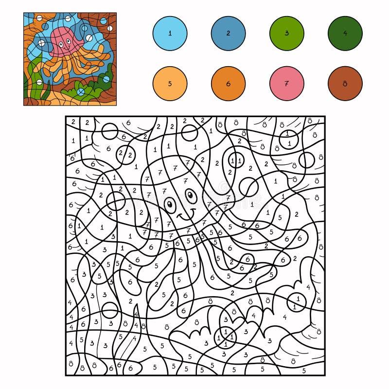 Color por el número (pescados de jalea) ilustración del vector