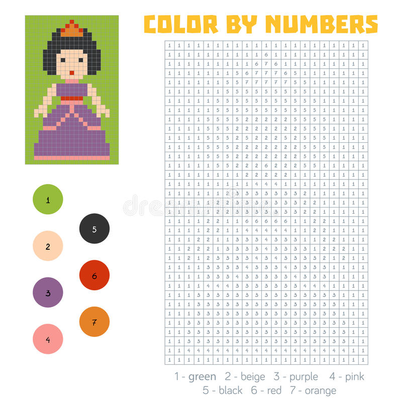 Color por el número, princesa libre illustration