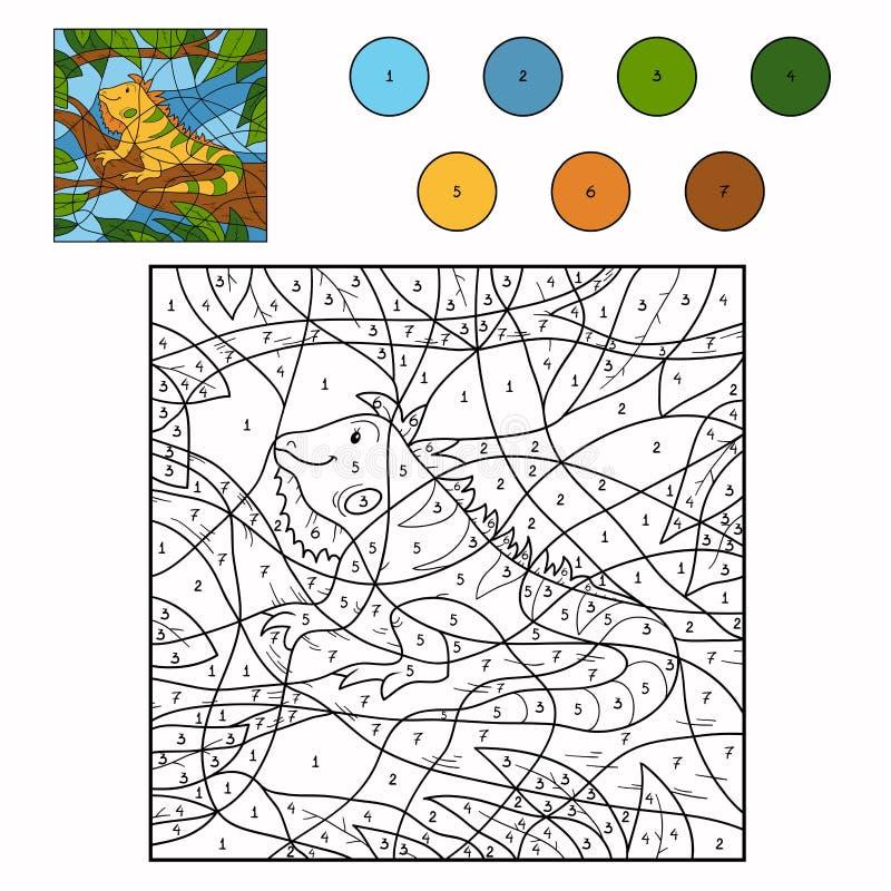 Color por la iguana del número stock de ilustración