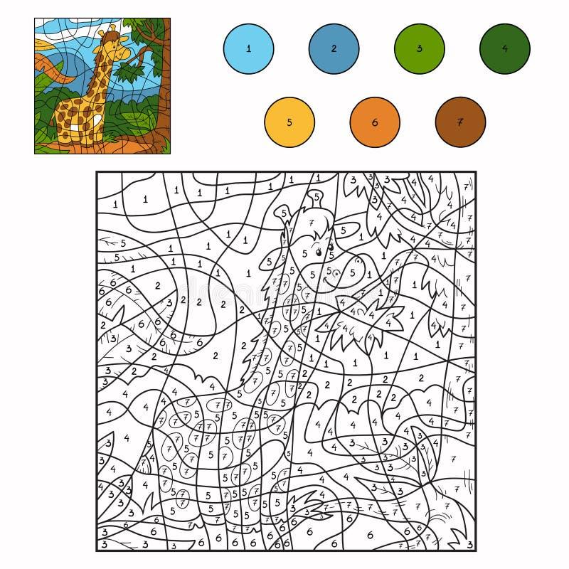 Color Por La Jirafa Del Número Ilustración del Vector - Ilustración ...