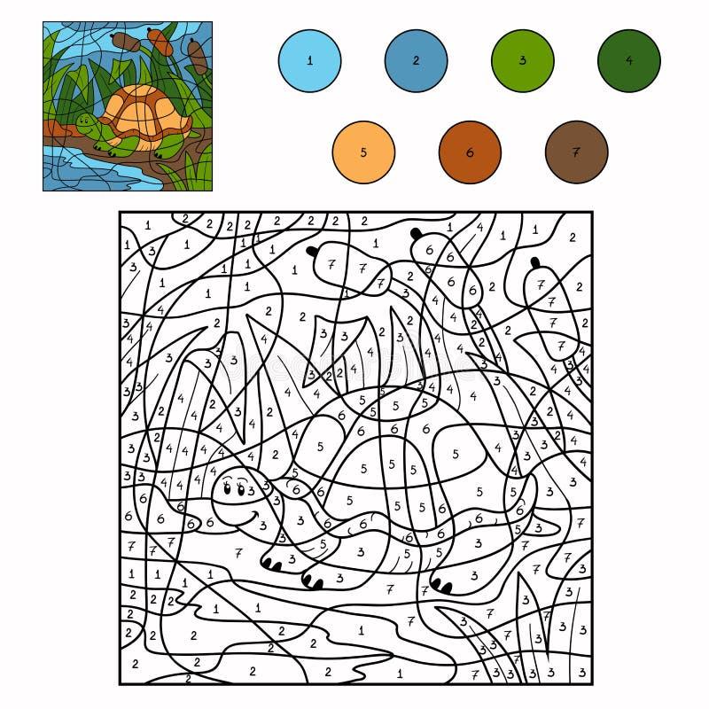 Color por la tortuga del número ilustración del vector