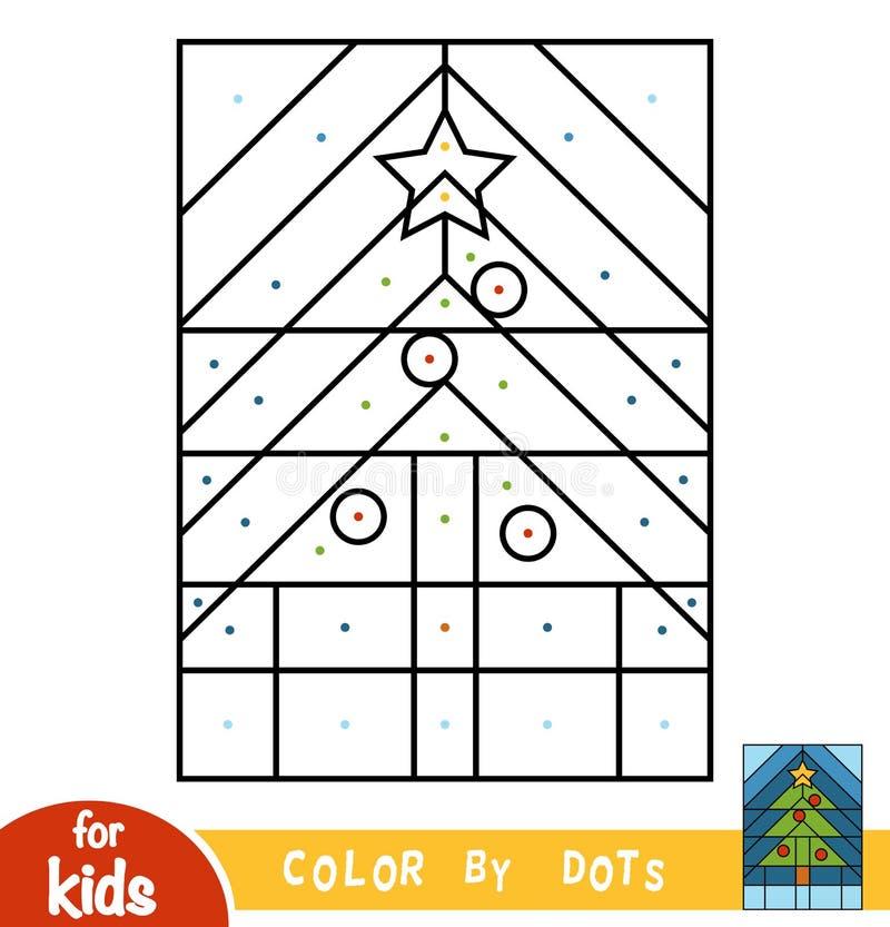 Color por los puntos, juego para los niños, árbol de navidad stock de ilustración