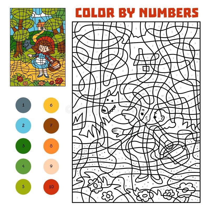 Color por número Cuentos de hadas Caperucita Rojo y mún lobo grande ilustración del vector