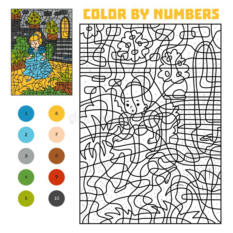 Color por número Cuentos de hadas Cenicienta y el pequeño deslizador de cristal perdido stock de ilustración