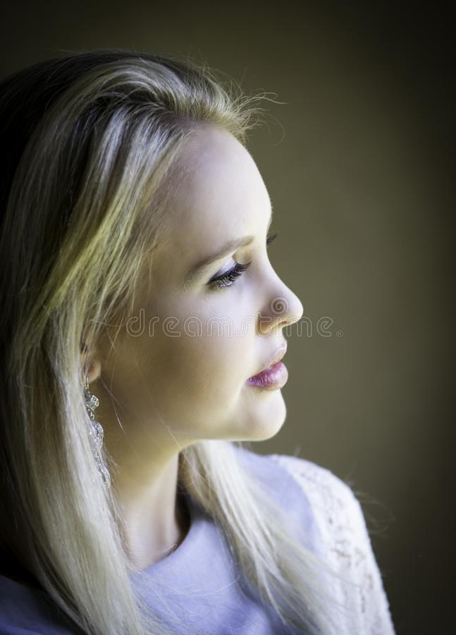 Profile portrait of gorgeous blonde lady lost in thought royalty free stock photos