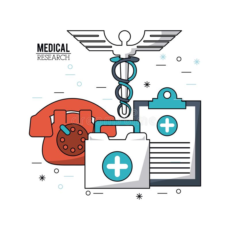 Color Poster Medical Research With Caduceus Symbol And Medical