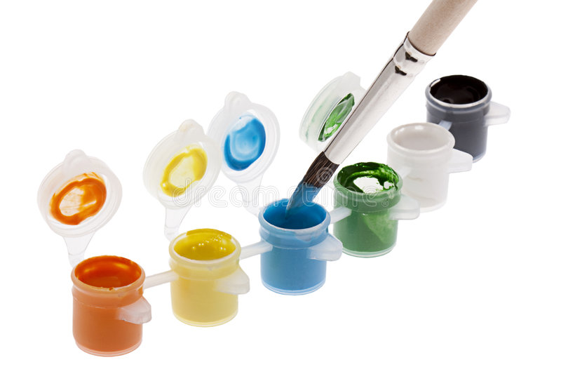Color pot with brush royalty free stock images