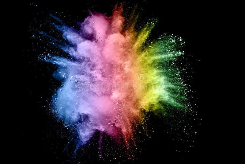Color powder explosion. On black background