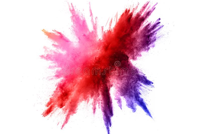 Color powder explosion.Colorful dust splashing stock image