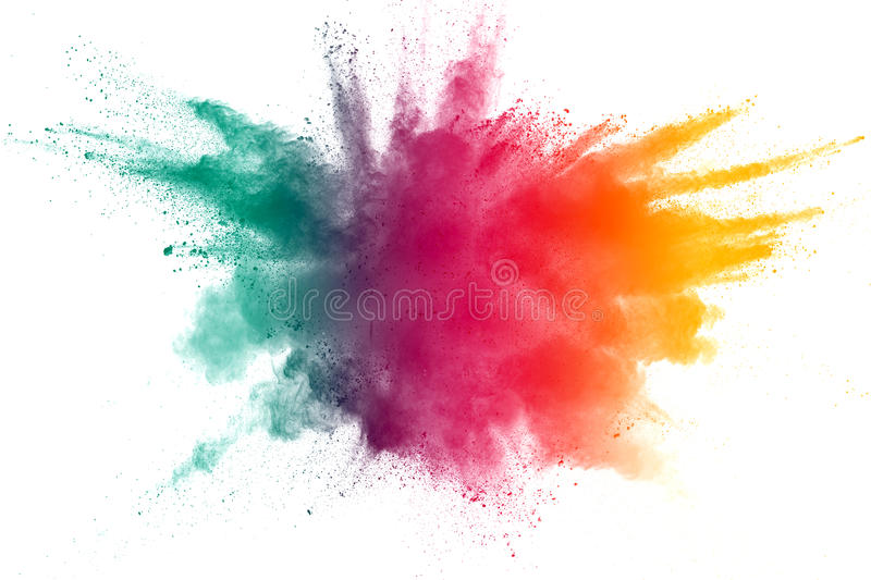 Color powder explosion. On white background