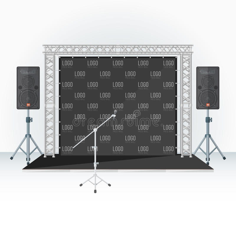 Color press wall stage metal truss microphone speakers vector illustration