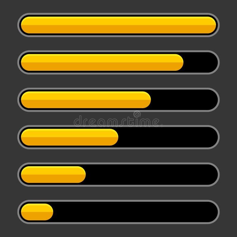 Free Color Progress Bar Set On Dark Background. Vector Royalty Free Stock Photography - 131982487