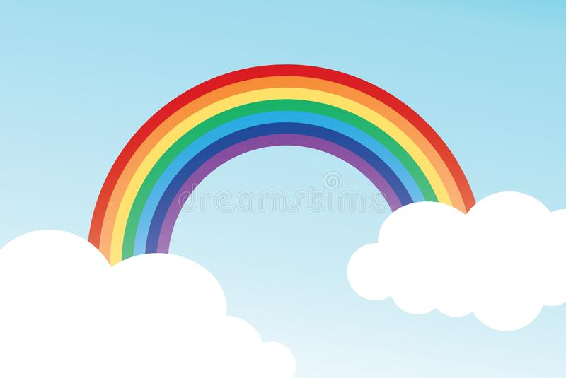 Color rainbow with clouds and sky stock illustration