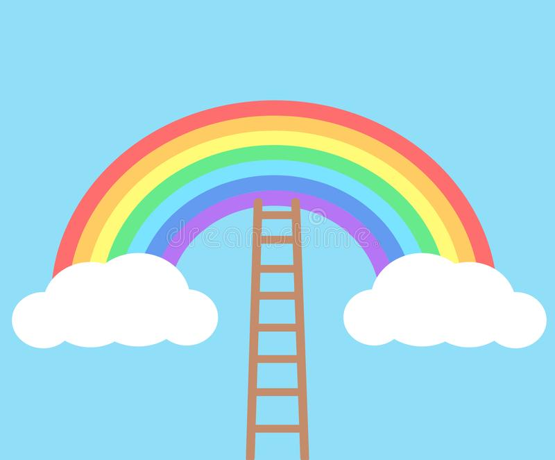 Color rainbow with clouds and wooden stairs on blue sky background stock illustration