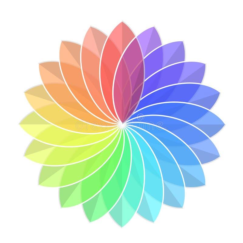 Color Rainbow Wheel Flower on White, stock vector illustration vector illustration