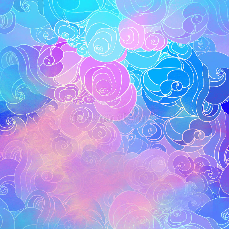Color raster abstract hand-drawn pattern with waves and clouds i. N neon pastel colors. Retro gothic style. Colorful rainbow concept royalty free illustration