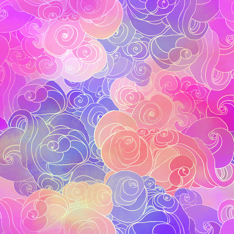 Color raster abstract hand-drawn pattern with waves and clouds i. N neon pastel colors. Retro gothic style. Colorful rainbow concept vector illustration
