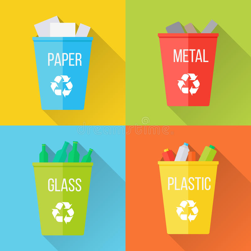 Color Recycle Garbage Bins with Glass vector illustration