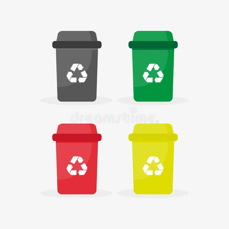 Color recycle garbage bins with paper, glass, plastic, metal. Reuse or reduce symbol with long shadow. Plastic recycle trash can. Trash can icon in flat. Waste royalty free illustration