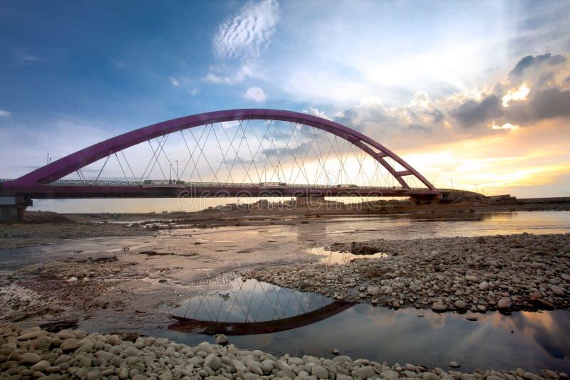 Download Color Red Bridge Sunset, Chuk Yuen, Taoyuan County Stock Image - Image: 20705879