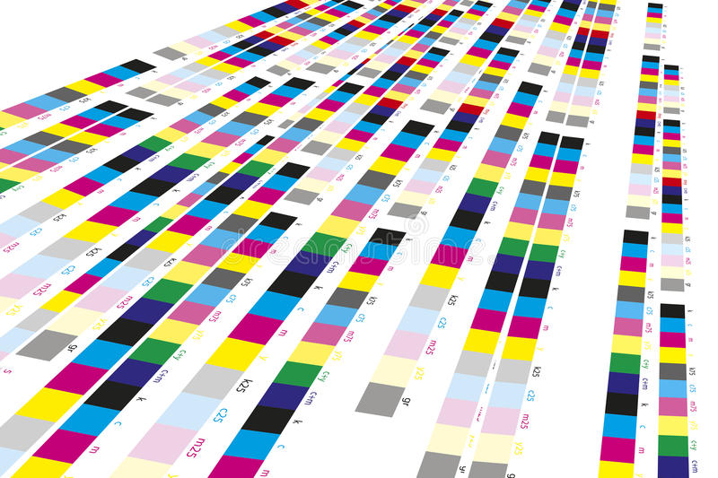 Color reference bars of printing process. In printshop royalty free stock photography